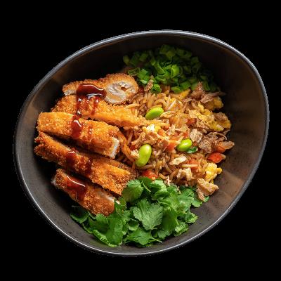 Смажений рис зі свининою тонкацу
