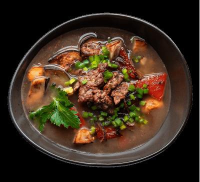 Бульйон з яловичиною та овочами гриль